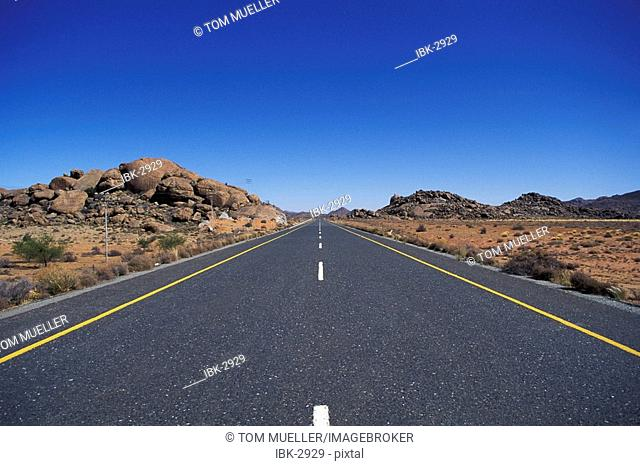 Straight tarroad in Namibia