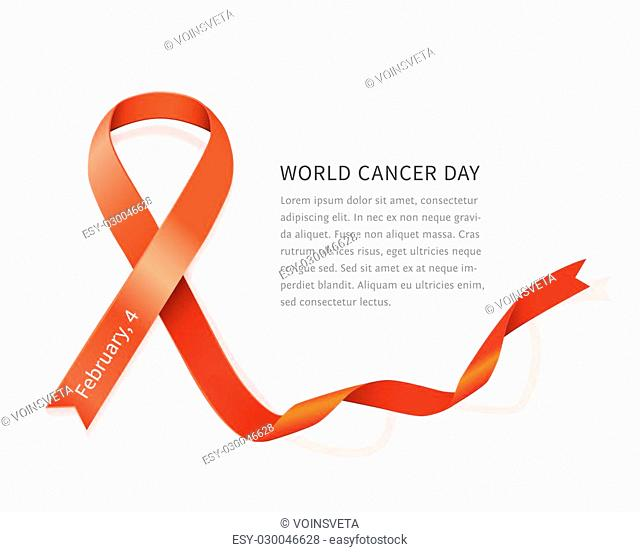 Red vector satin ribbon for World Cancer Day. General cancer awareness symbol isolated on white background