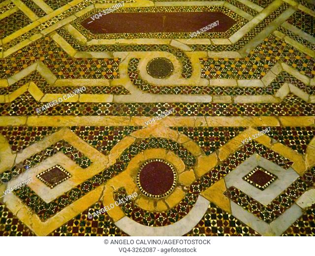 Chiesa di San Cataldo in Palermo, Detail of the floor in mosaic, Sicily, Italy