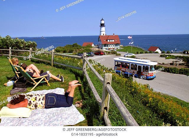 Maine, Portland, Cape Elizabeth, Portland Head Light, lighthouse, Keeper's Quarters, Fort Ft  Williams Park, trolley, Casco Bay, Atlantic Ocean