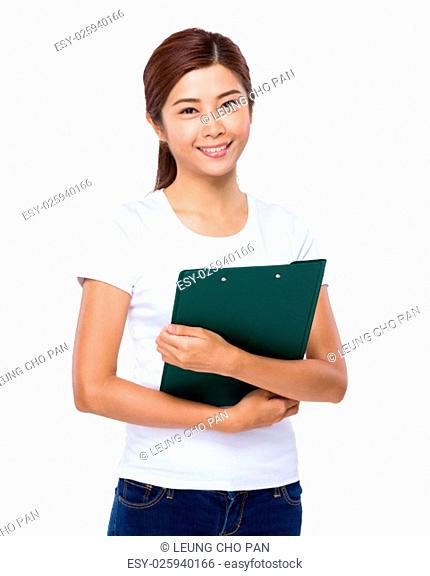 Asian woman holding clipboard