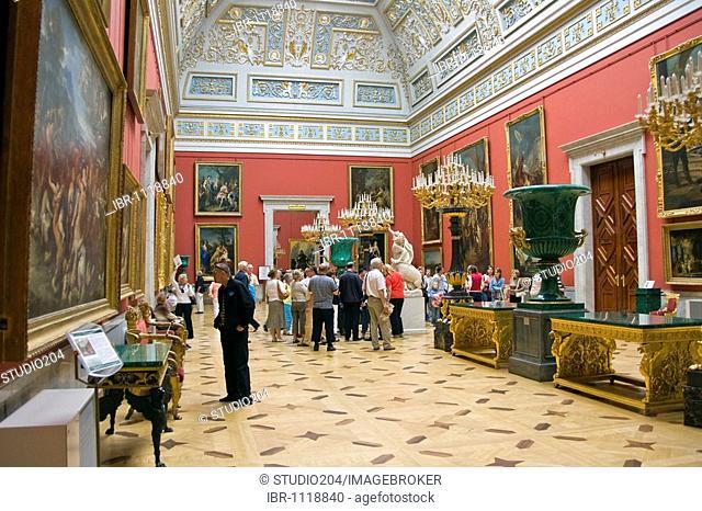 Hall of Italian paintings in Hermitage, St. Petersburg, Russia