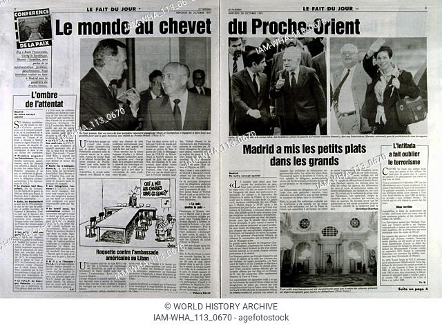 French publication 'Le Parisien' reporting on the Madrid Conference; a peace conference, held from 30 October to 1 November 1991 in Madrid
