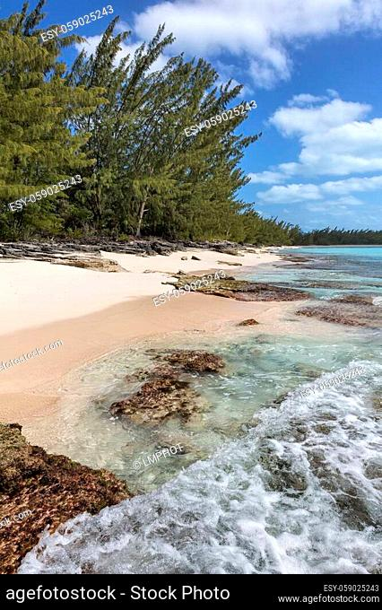 Waves crashing over coral along the shoreline in the Orange Creek area of Cat Island, Bahamas
