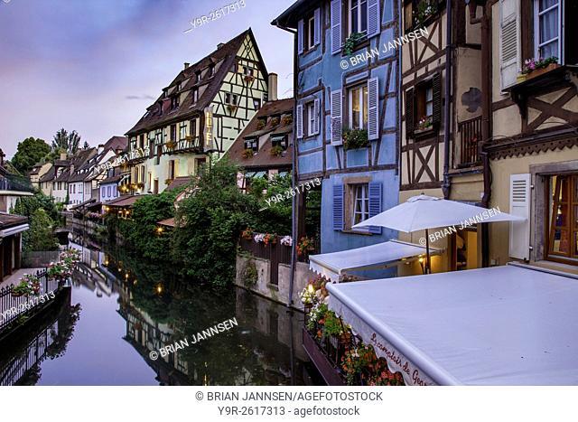 Buildings and canal of Little Venice (Petit Venise), Colmar, Alsace, France