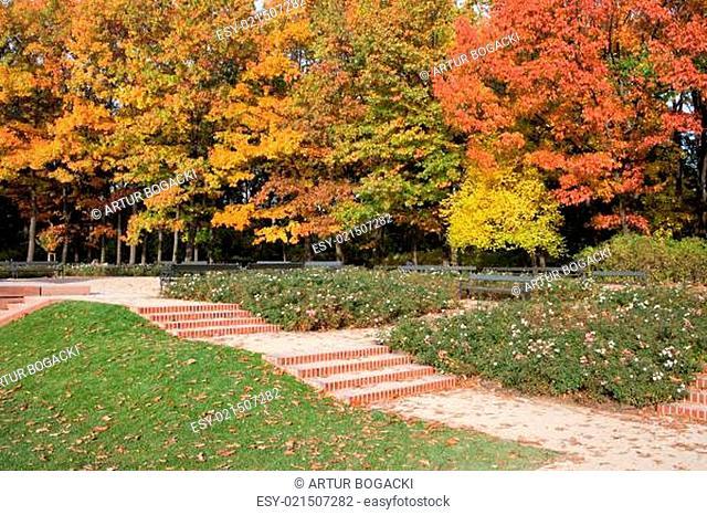 Autumn in the Royal Lazienki Park (Polish: Lazienki Krolewskie, Park Lazienkowski), city of Warsaw, Poland