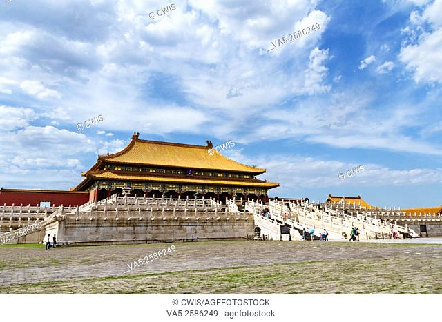 Beijing, China - The view of buildings at Forbidden city in the daytime,the Taihedian