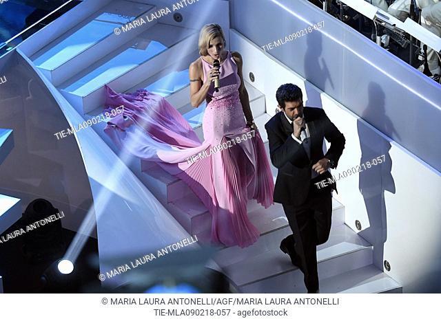 Michelle Hunziker, Pierfrancesco Favino at the 68th Sanremo Music Festival, Sanremo, ITALY-08-02-2018