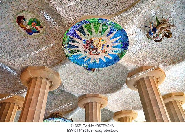 Mosaic details,park Guell,Barcelona