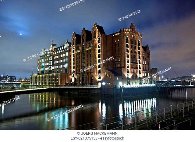 Speicherstadt at night in Hamburg