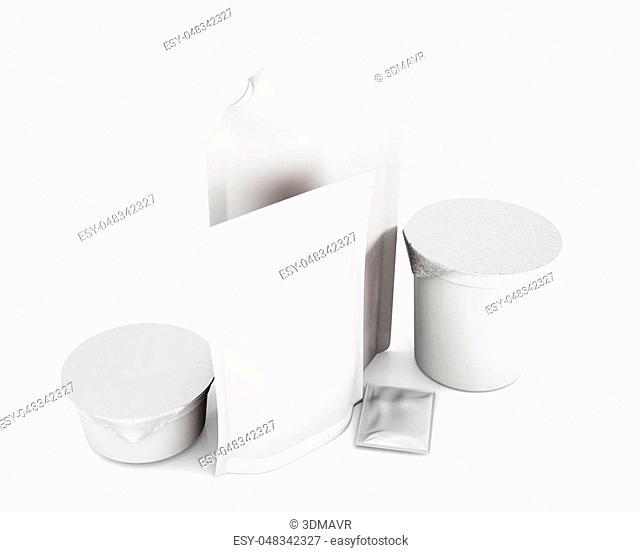 Set mock up packaging for food top view. 3d rendering