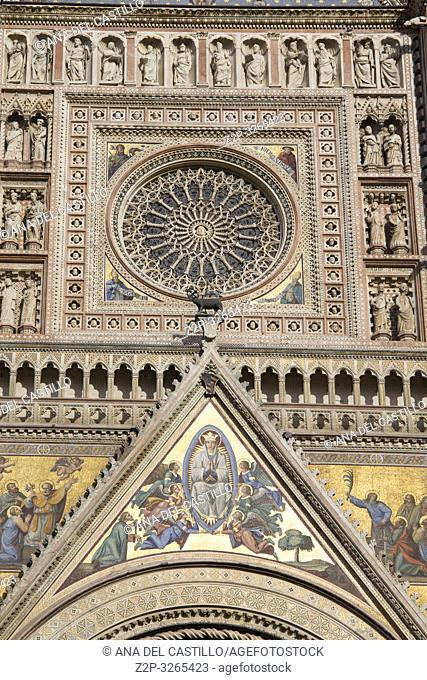 Orvieto, Italy. Façade of the Duomo Cathedral