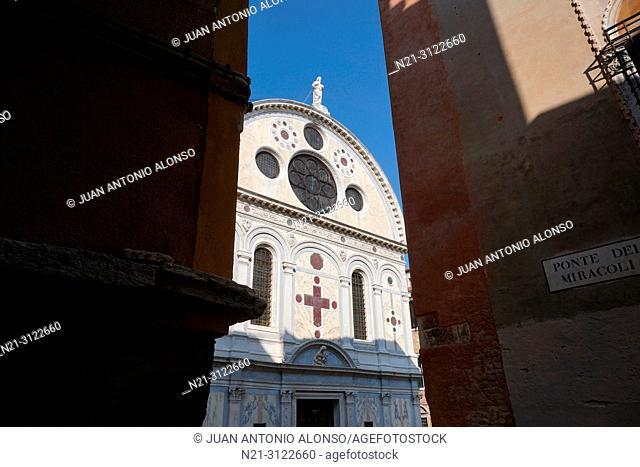 Santa Maria dei Miracoli Church. Cannaregio Sestiere. Venice, Veneto, Italy, Europe