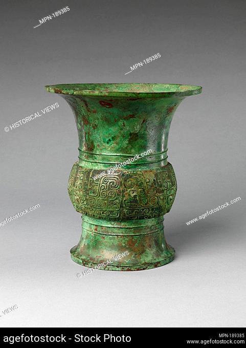 商 青銅尊/Wine Vase (Zun). Period: Shang dynasty (ca. 1600-1046 B.C.); Date: 13th century BC; Culture: China; Medium: Bronze; Dimensions: H