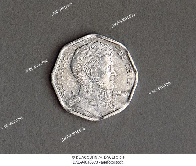 1 peso coin, 1992, obverse, Bernardo O'Higgins Riquelme (1778-1842). Chile, 20th century