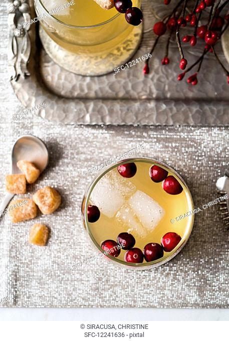 Cranberry ginger festive holiday cocktail
