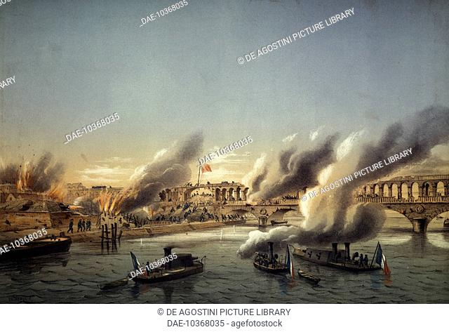 Flotilla of the Seine forcing entry into Paris at the barricade on May 21, 1871, fighting on the Seine between the Versailles of Thiers and the Communards, 1871