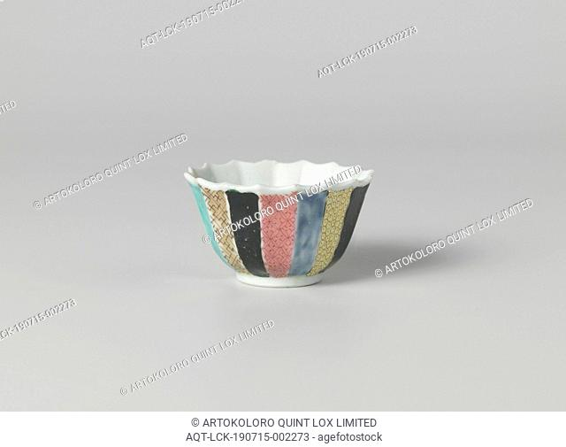 Bell-shaped cup with a Chinese lady in a garden and diaper patterns on various colored grounds, Bell-shaped porcelain cup with ribbed wall and scalloped edge