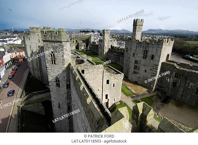 Caernarfon Castle was constructed by King Edward I of England following his conquest of Gwynedd in 1283