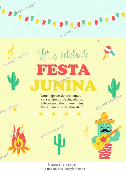 Bright poster for Festa Junina with happy caactus in sombrero