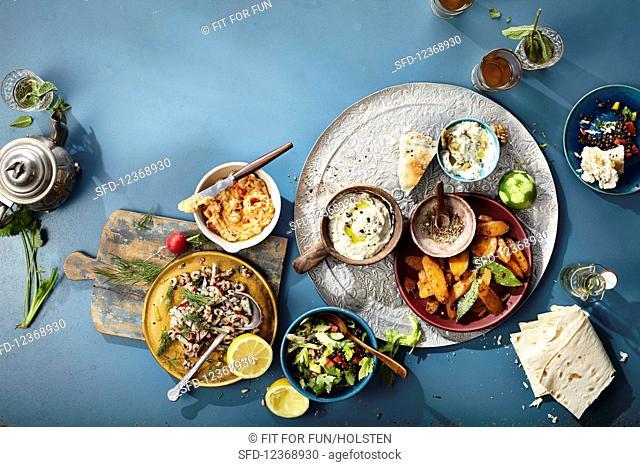 Various mezze (dips and salads)