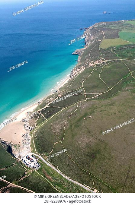 Aerial shot of Chapel Porth & Wheal Coates, St Agnes, Cornwall, owned and managed by the National Trust