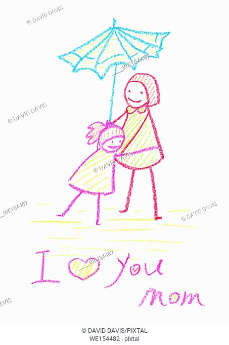 Kids crayon drawing of a Mother's Day card, with a white background and copy space