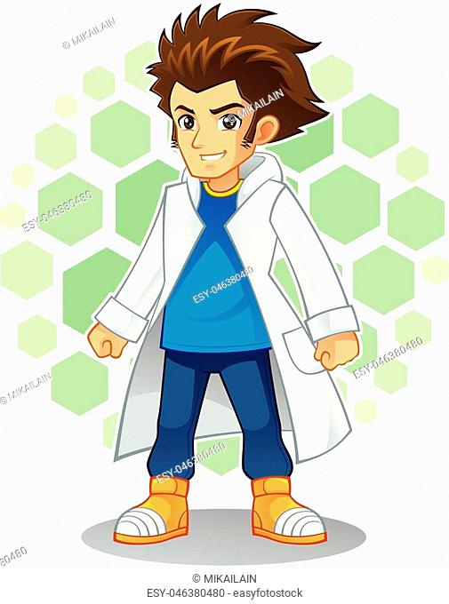 High quality vector cartoon mascot character of cool scientist