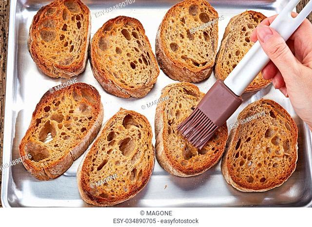 toasted ciabatta bread slices for making bruschettas