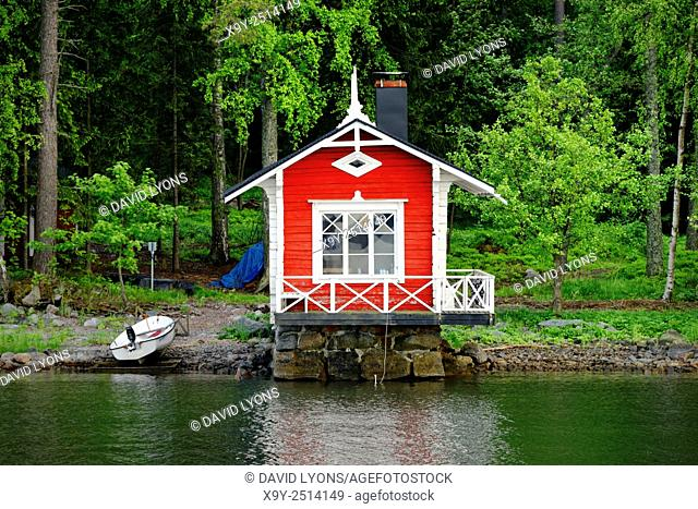 Helsinki, Finland. Summer house sauna with boat landing on coast on east side of Helsinki