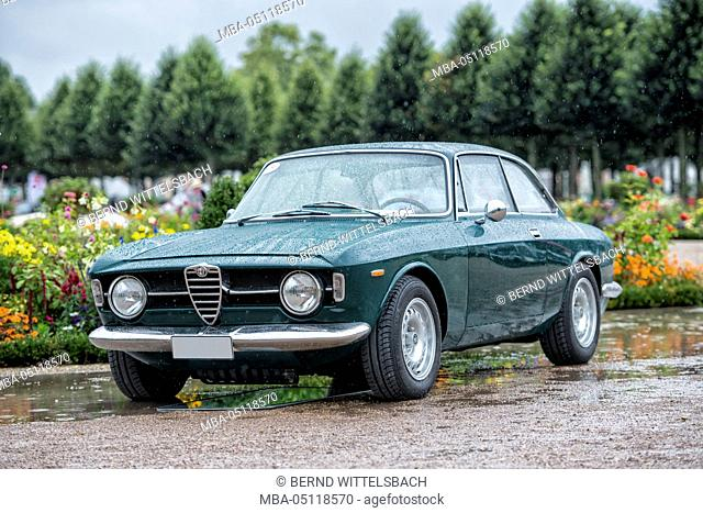 Schwetzingen, Baden-Württemberg, Germany, Alfa Romeo GT 1300 coupe at the Classic gala, Concours d'Elégance in the baroque castle grounds