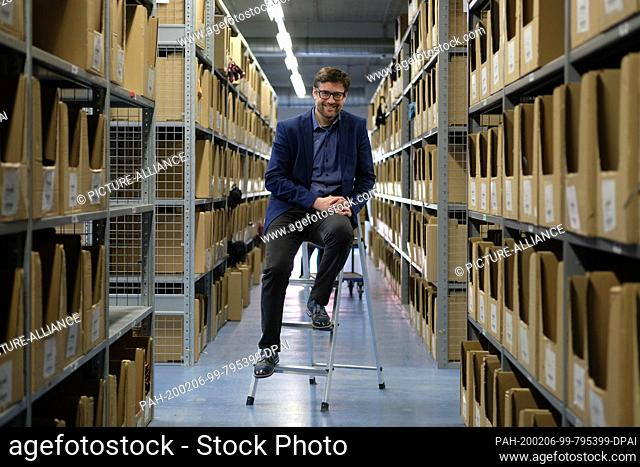 27 January 2020, Saxony, Chemnitz: Jan Jassner, managing director of Bruno Banani Underwear GmbH, in the warehouse of his company