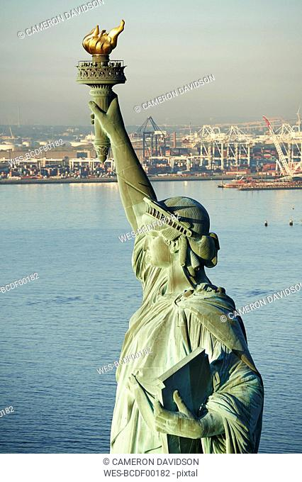 USA, New York State, New York City, View of Statue of Liberty, New York Harbor in the background