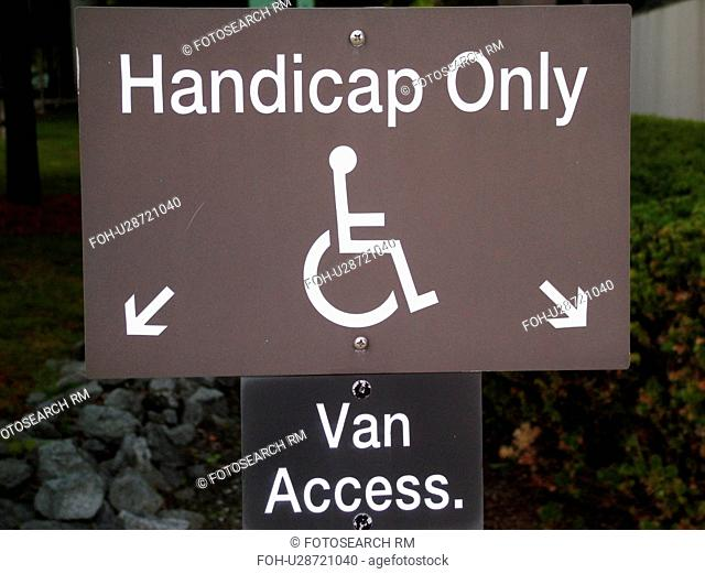 parking sign, handicap only, van access