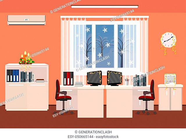 Christmas decor office room interior. Holiday design with serpentine including two work spaces with winter landscape outside window