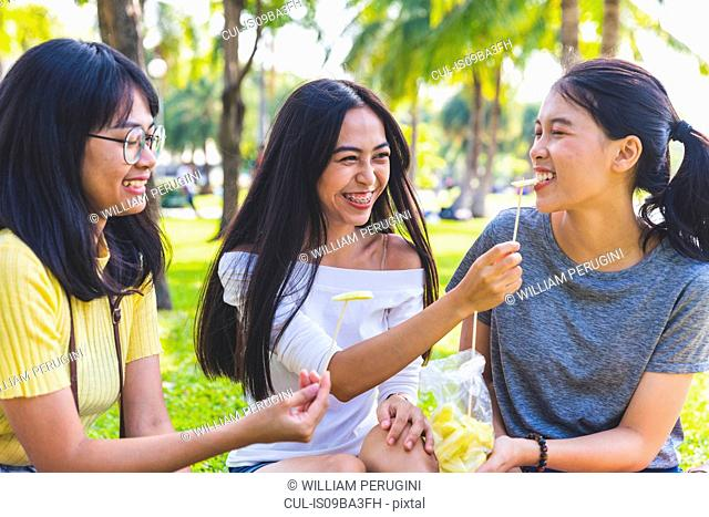 Friends enjoying snacks in park, Bangkok, Thailand