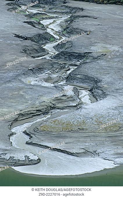 Erosion in old tailings pond, Premier gold mine, Stewart, British Columbia
