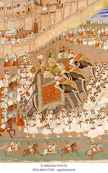 miniature painting of gangaur festival , royal procession