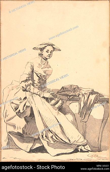 Florentine Woman Wearing a Butterfly Cap and Holding a Hand Warmer. Artist: Jean-Baptiste Greuze (French, Tournus 1725-1805 Paris); Date: 1755; Medium: Pen and...