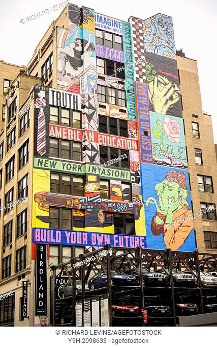 A mural by the artists Faile on the side of the building that contained the historic Record Plant recording studio in the Hell's Kitchen neighborhood of New...