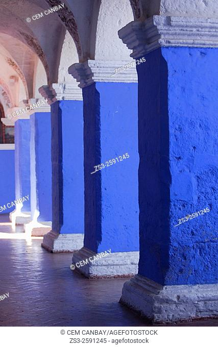 Blue columns of the Monastery of Saint Catherine, Santa Catalina Convent, Arequipa, Peru, South America