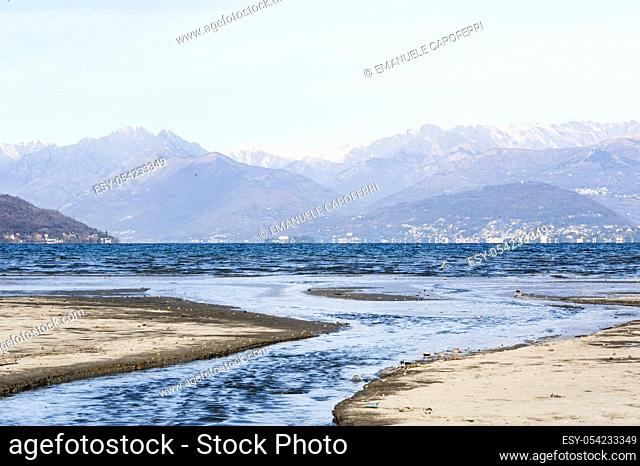 Acquanegra river is thrown in Lake Maggiore, Ispra, Lombardy, Italy