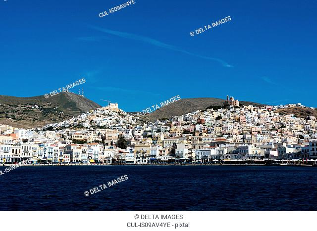 View of sea and Ermoupoli town, Syros, Cyclades Islands, Aegean sea, Greece