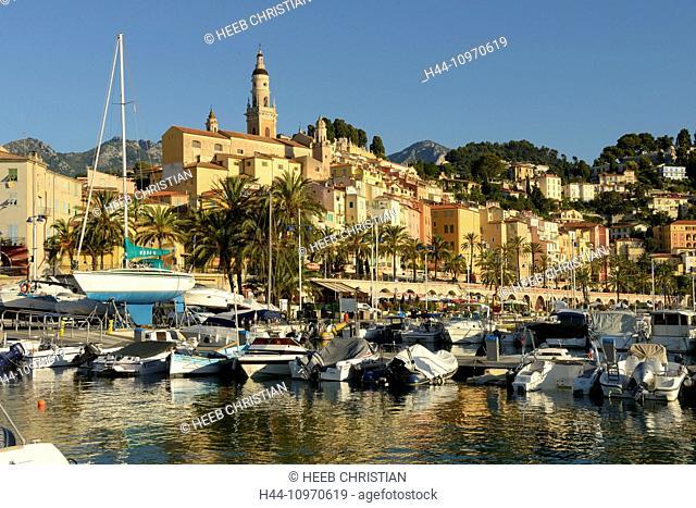 Europe, France, Cote d'Azur, Menton, yacht, harbour, marina, city, Mediterranean, coastal