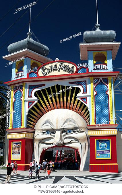 Entering Luna Park at St Kilda on Port Phillip Bay, Victoria, Australia
