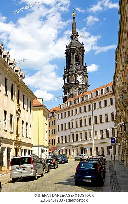Bell Tower of the Dreikönigskirche in Dresden, Saxony, Germany