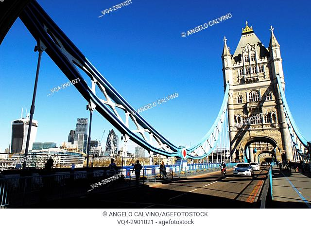 Tower Bridge and Traffic, London, United Kingdom, Europe