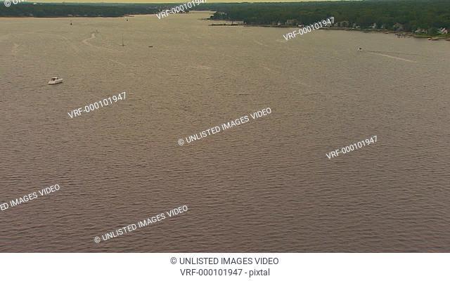 Flying over Lake Macatawa