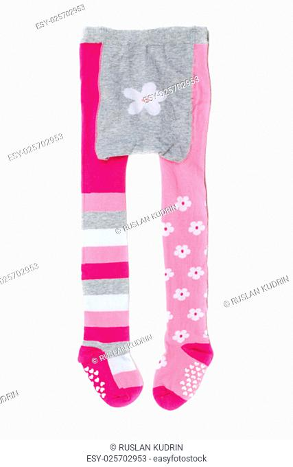 Pink children's tights. Isolate on white