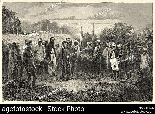 Chief Watton funerals, New Caledonia. Old engraving illustration, Journey to New Caledonia by Jules Garnier